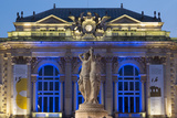 The Three Graces Fountain and the Opera in Place De La Comedie in the City of Montpellier