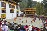 Crowds Watching the Dancers at the Paro Festival  Paro  Bhutan  Asia