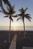 Beach of Puerto Naos at Sunset  La Palma  Canary Islands  Spain  Atlantic  Europe