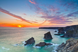 Sunset  Carnewas and Bedruthan Steps  Cornwall  England  United Kingdom  Europe