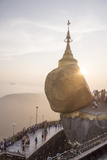 Pilgrims at Golden Rock Stupa (Kyaiktiyo Pagoda) at Sunset  Mon State  Myanmar (Burma)  Asia