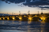 Historic Bridge Pont De Pierre over the Garonne River at Sunset  Bordeaux  Aquitaine  France