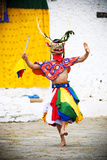 Traditional Dancer at the Paro Festival  Paro  Bhutan  Asia