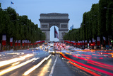 View Down the Champs Elysees to the Arc De Triomphe  Illuminated at Dusk  Paris  France  Europe