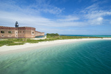 Turquoise Waters and White Sand Beach in Front of Fort Jefferson  Florida Keys  Florida