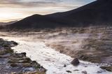 Geothermal River at Sunrise at Chalviri Salt Flats (Salar De Chalviri)  Altiplano of Bolivia
