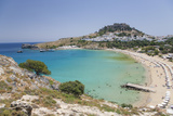 View over the Clear Turquoise Waters of Lindos Bay  South Aegean
