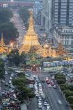 The Sule Paya Pagoda in Rushing Traffic  Downtown Yangon  Myanmar (Burma)  Southeast Asia
