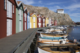 Traditional Falu Red Fishermen's Houses in Harbour  Sweden