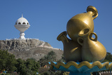Golden Sculpture on Road Roundabout and Incense Burner (Riyam Monument)  Muscat  Oman  Middle East