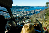 Floibanen Funicular Railway with View of Bergen from Mount Floyen  Bergen  Norway  Scandinavia