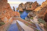 Soft Colors of Dawn on the Red Cliffs of Ponta Da Piedade  Lagos  Algarve  Portugal  Europe