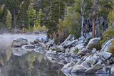 Rock Creek Lake in the Fall with Fog  Inyo National Forest  California  United States of America