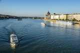 Little Ferries on the River Danube in Front of the Panorama of Pest  Budapest  Hungary  Europe