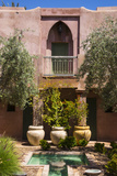 Typical Moroccan Architecture  Riad Adobe Walls  Fountain and Flower Pots  Morocco  Africa