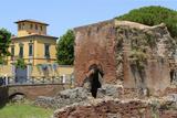 Ruins of Roman Terme Di Nerone Thermal Baths at Largo Parlascio Square  Tuscany (Toscana)  Italy