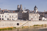 Looking across River Loire to Cathedrale Sainte Croix D'Orleans  Loiret  France