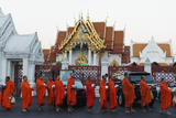 Monks Collecting Morning Alms  the Marble Temple (Wat Benchamabophit)  Bangkok  Thailand