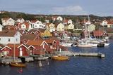 Falu Red Fishermen's Houses in Harbour  Southwest Sweden
