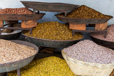 Dishes of Spices for Sale in a Street Market in the City of Udaipur  Rajasthan  India  Asia