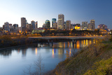 View of the Edmonton Skyline Reflected in the North Saskatchewan River  Edmonton  Alberta  Canada