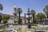 Plaza De Armas Fountain and Basilica Cathedral of Arequipa  Arequipa  Peru  South America