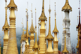 Golden Pagodas at the Nyaung Oak Monastery in Indein  Shan State  Myanmar (Burma)