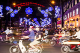 Traffic and Chinese New Year Lights  Ho Chi Minh City  Vietnam  Southeast Asia