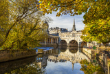 Pulteney Bridge Reflected in the River Avon  Bath  Somerset  England  United Kingdom