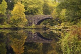 Bridge over River Conwy in Autumn  Near Betwys-Y-Coed  Wales  United Kingdom  Europe