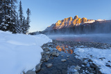 Castle Mountain and the Bow River in Winter  Banff National Park  Alberta  Canada  North America