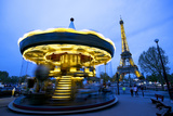 Carousel Below the Eiffel Tower at Twilight  Paris  France  Europe