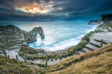 A Winter Sunset at Durdle Door on the Jurassic Coast  Dorset  England  United Kingdom  Europe