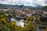 View over Cesky Krumlov and the Vltava River  Czech Republic  Europe