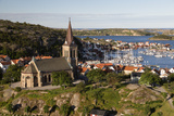 View over Harbour and Town with Vetteberget Cliff  Sweden