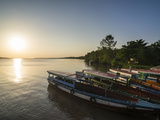 Fishing Boats at Sunset on the Suriname River Near Paramaribo  Surinam  South America