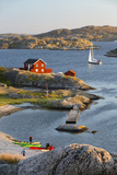 View over Red Swedish House and Islands of Archipelago  Southwest Sweden