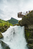Overlook on Small Waterfall in Geiranger  Norway  Scandinavia  Europe
