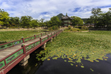 Hyangwonjeong Pavilion and Chwihyanggyo Bridge over Water Lily Filled Lake in Summer  South Korea