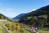 Swiss Railway  Autumn  Engadine  Graubunden  Switzerland  Europe