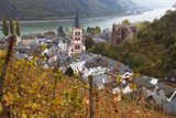 Overview of Bacharach and the Rhine River in Autumn  Rhineland-Palatinate  Germany  Europe