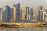 Futuristic Doha City Skyline and Container Port  Doha  Qatar  Middle East