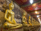 Rows of Gold Buddha Statues  Wat Suthat Temple  Bangkok  Thailand  Southeast Asia  Asia