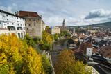 View over Cesky Krumlov and the Vltava River  UNESCO World Heritage Site  Czech Republic  Europe