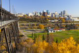 View of the Edmonton Skyline and the High Level Bridge in Autumn  Edmonton  Alberta  Canada