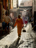 Woman in Pink  Medina Souk  Marrakech  Morocco  North Africa  Africa