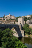 Bridge over the River Tagus with the Alcazar of Toledo Above  Toledo  Castilla La Mancha  Spain