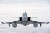 A Hungarian Air Force Jas-39 Gripen over Lithuania