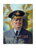 World War Ii Painting of Winston Churchill Wearing His Raf Uniform