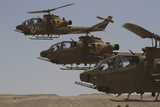 Formation Landing of Ah-1 Tzefa Helicopters from the Israel Air Force